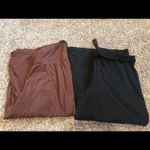 Wide-leg capris set -M brown S black cropped pants